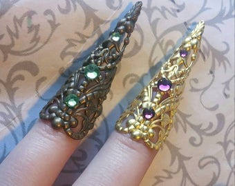Leafy Faun Claw with Custom Color Crystals // Antiqued Bronze or Gold