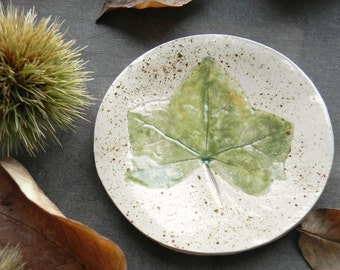 Green Fall Ceramic Ring Dish Rustic Small Pottery Plate Autumn Leaf Jewelry Dish