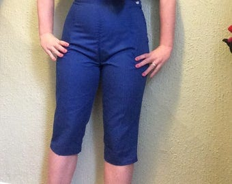 1950s royal blue clamdiggers sz m 28