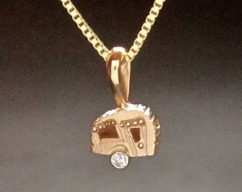 Camper Pendant, 14k gold & diamond, TINY solid gold camper, handmade in USA