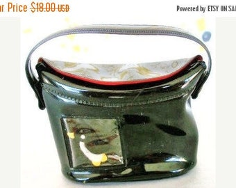 ON SALE Vintage Black Patent Leather Doll Purse With Penguin Red Interior Fashion Doll Purse Or Tote Toy Doll Purse