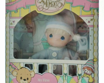 """ON SALE Vintage NIB My First Precious Moments Baby Doll, 6"""" Vinyl Boy Doll, Precious Moments, In Original Box, New Old Stock, Small Baby Dol"""