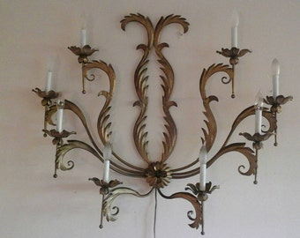LARGE Vintage Wall Sconce Candelabra wall lamp fixture -- 8 lights -- Elegant mid century