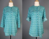 Cotton Blouse / Vtg 90s /...
