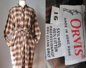 Glen Plaid Tunic Dress / Vg 70s / Wool & Cotton Orvis Brown Plaid Button down tunic dress / Orvis Shirt dress / Size Large