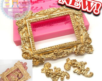 Big Victorian Embellishment Frame with Scrolls Fondant Mold Chocolate Wax Soap Candy fimo Polymer Clay Silicone Mold 496L BEST QUALITY