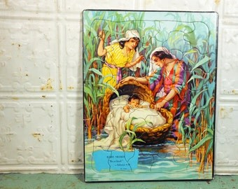 """Vintage Sta-True Bible Picture Puzzle """"Baby Moses;"""" Providence Lithograph Bible Verse Puzzle"""