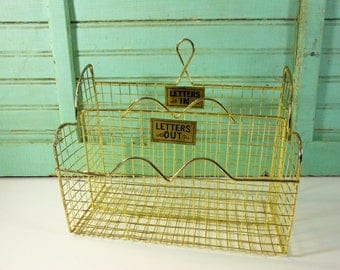 vintage gold wire standing letter basket with letters in and letters out labels