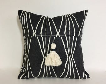 Petite square Tassel pillow. Charcoal grey pillow cover. Handcrafted tassel. geometric Robert Allen print. pillow cover home decor accent