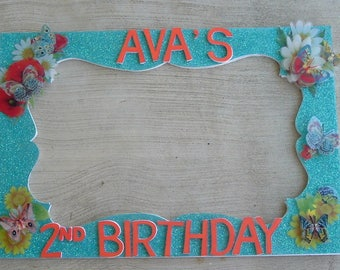 Turquoise or any colors Butterfly Birthday or any theme or color you want Party Photo Prop Frame