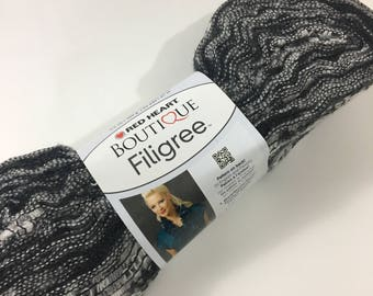Red Heart Boutique Filigree Ruffle Fiber Yarn Black White Gray Urban Novelty Super Bulky Weave Discontinued Novelty Specialty