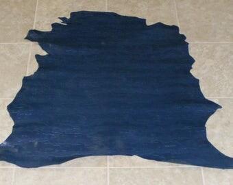 UXE7761-10) Hide of Dark Blue Printed Lambskin Leather Skin