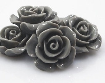 Resin Cabochon - 5pcs - Flower Cabochon - Gray - Cabochon - 14mm - SW007-3