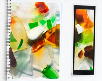 journal sketchbook notebook - Beach Glass photography - coordinating laminated bookmark included - handcrafted