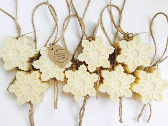 Peppermint Snowflake Soap on a Rope - Christmas ornament - Snowflake Natural Handmade Soap