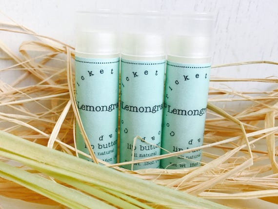 LIP BUTTER - Lemongrass All Natural Lip Butter - lip balm tube - stocking stuffer
