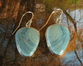 Baby Blue Leland Blue Earrings Sterling Silver Metalsmith James Blanchard
