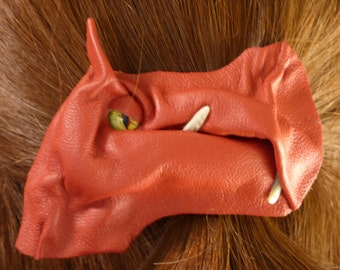 Dragon Hair Clip Clasp Barrette Accessory Red Leather Harry Potter