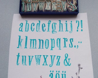 rubber stamp alphabet »giraffe« handcarved abc