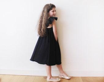 Girls black butterfly dress, Black Flower girl satin dress 5003