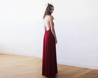 Bordeaux halter-neck maxi gown, Backless maxi red dress, Bridesmaids wine red maxi dress 1070