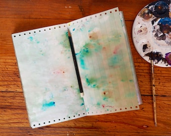 Green Painted Page Journal, green pages with dark green leather hinges