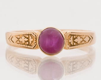 Antique Ring - Antique 15k Rose Gold Star Ruby Ring