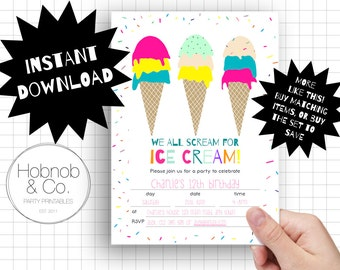 Printable ice cream party invitations INSTANT DOWNLOAD