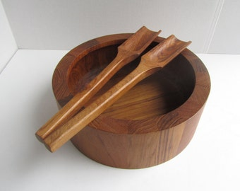 Vintage Dansk International Designs JHQ Thailand Teak Bowl Tongs Excellent Condition