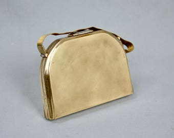 STRATTON Made in England Vintage 1950s Brass Minaudier Box Clutch Hand Bag With Enameled Powder Compact & Cigarette Case