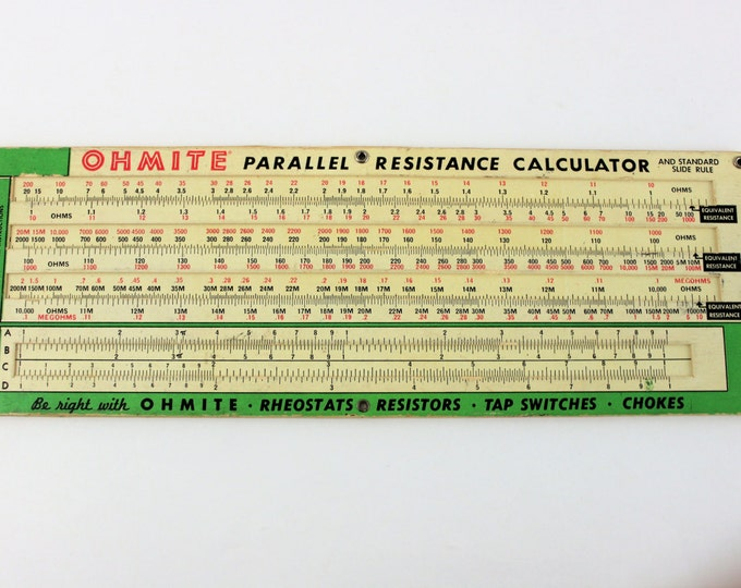 Vintage Ohmite Parallel Resistance Calculator, Chicago / Skokie, Illinois, copyright 1949