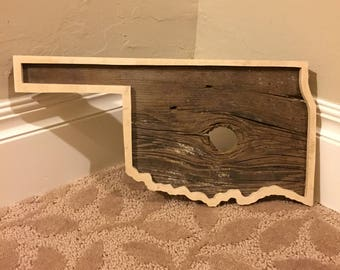 Oklahoma Wall Decor, Oklahoma Wall Hanging, Reclaimed Wood Decor, Repurposed Wood Decor, Oklahoma State Outline Decor, Wood Decor
