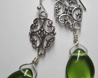 Olivine And Sterling Silver Earrings - Gift for Her, For Her, For Mom, Gift For Girlfriend, Grad Gift, Birthday, Anniversary
