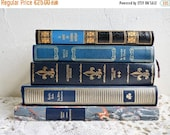 Sale 20 % Off .... Vintage BOOK COLLECTION, Shades of Blue with Gold Lettering. Decorative Book Set of 5, 1970s.