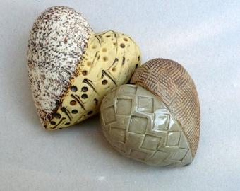 Heart  Pebbles , Earth Tones , Porcelain Heart Duo  , Ceramic Sculpture , Romantic Gift