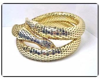 Goldtone Mesh Snake  Necklace Signed Whiting & Davis - Snakeskin Choker - Vintage Retro 1980's - 1990's  - Neck-6512a-021917060