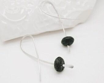 Lava earrings, Silver hoop earrings with lava beads, Black hoop earrings