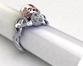 Custom Platinum and rose gold Viper Skull GIA Center