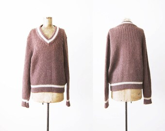 Oversized Sweater / 60s Mohair Wool Knit Pullover Sweater / Preppy V Neck Chunky Sweater