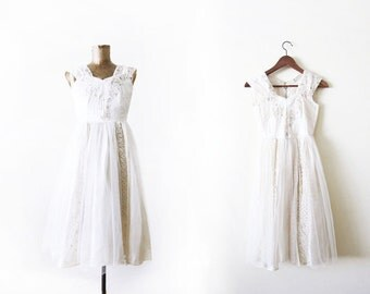 1950s Party Dress / Ivory White 50s Tulle Dress / Vintage White Lace Dress XS