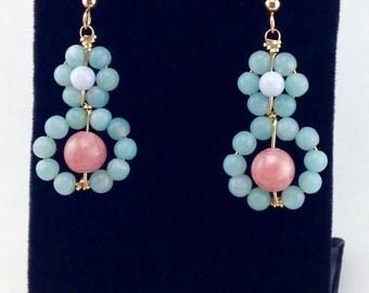 Pastel earrings,beaded earrings,gemstone earrings,something blue,delicate earrings,gold wrapped earrings,blue earrings, pretty earrings