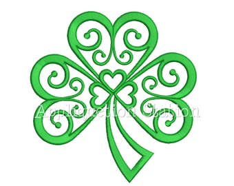 Filigree Shamrock Applique Machine Embroidery Design St Saint Patrick green clover Irish Celtic INSTANT DOWNLOAD