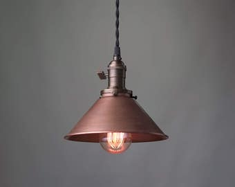 aged copper pendant industrial pendant light copper shade ceiling light industrial lighting
