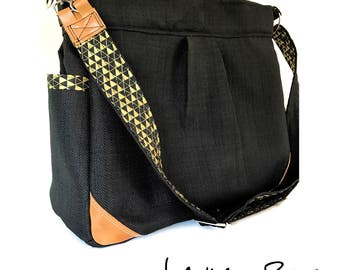 Black, Gold and Leather Convertible Diaper Bag