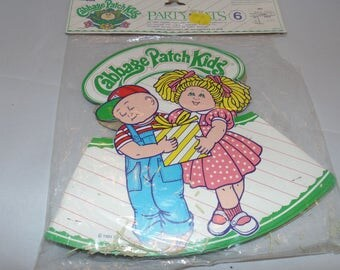 Vintage 1983 Cabbage kids party hats new old stock sealed 6 hats
