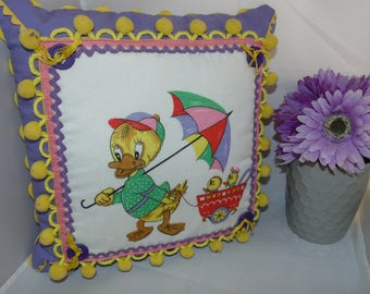 Vintage Kitsch Duck Ducklings Umbrella Decorated Pillow Hankie Doodles