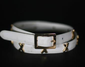 vintage paloma picasso cream leather belt size large