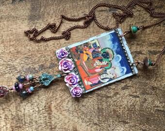 Rustic Artisan Indian Scenery necklace - multicultural . Indian culture . Ayurveda . Yoga . Hinduism . spiritual . religious Hindu India