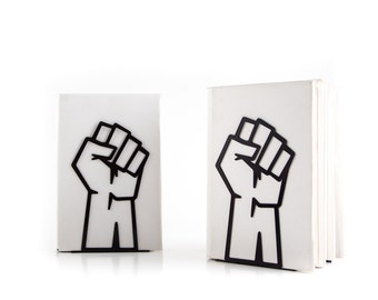 A pair of Bookends Unity // raised fist // support // shelf decor for the smartest books // FREE SHIPPING // perfect gift