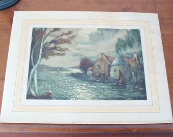Signed 1920's Vintage Héran Chaban Print Titled Morning Breeze, France